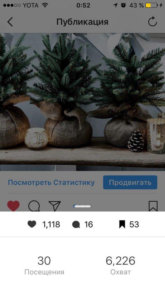 Статистика одиночного поста Instagram в режиме реального времени.
